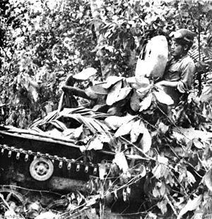 Type 97 Te-Ke - A camouflaged Type 97 Te-Ke in the Battle of Muar, 17 January 1942.