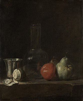 Jean-Baptiste-Siméon Chardin - Still Life with Glass Flask and Fruit, c.1728 (note reflected light on glass/silver)