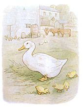 Drawing of a large white duck and four ducklings