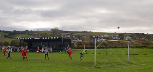Millbrook A.F.C. - Action from a SWPL match at Jenkins Park, with the view of Millbrook in the background.