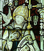 Stained glass window in the college chapel, showing St David. Late 19th century.