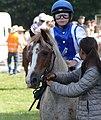 Jeune cavalier sur un poney aubère.jpg