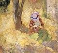 Jeune femme lisant dans un jardin.jpg