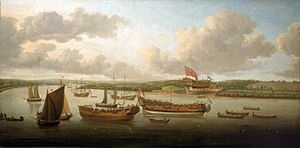 John Cleveley the Elder - Launch of a Fourth-Rate on the River Orwell.jpg