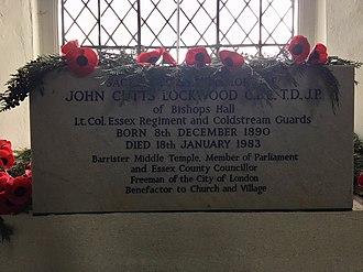 John Lockwood (British politician) - Memorial to John Lockwood in the church of St Mary and All Saints, Lambourne, Essex