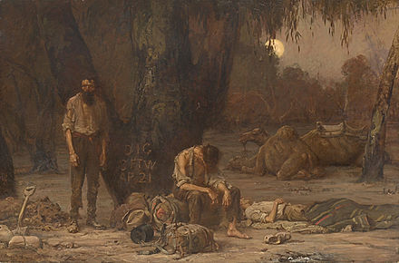 John Longstaff, Arrival of Burke, Wills and King at the deserted camp at Cooper's Creek, Sunday evening, 21 April 1861, oil on canvas, 1907, National Gallery of Victoria. John Longstaff - Arrival of Burke, Wills and King, 1861.jpg