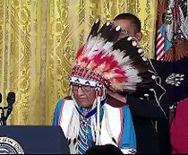 Joseph Medicine Crow-High Bird - Aug 12 2009 Presidential Medal of Freedom - with Obama and award.jpg