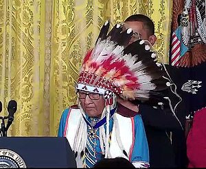 Joe Medicine Crow - Image: Joseph Medicine Crow High Bird Aug 12 2009 Presidential Medal of Freedom with Obama and award