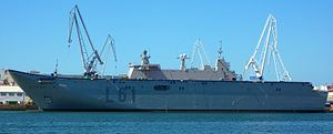 Navantia - Spanish Navy LHD ''Juan Carlos I'' (L-61) on afloat completion stage.