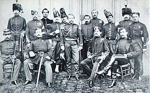 Jules Brunet - The French military mission before its departure to Japan. Jules Brunet is seated in front, second from right (1866).