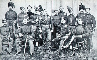 The French military mission to Japan, invited by Tokugawa Yoshinobu for the modernization of his forces, in 1867 JulesBrunet.jpg