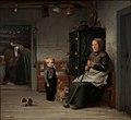 Julius Exner - En fattig kone der venter på et krus øl i en bondestue - KMS1753 - Statens Museum for Kunst.jpg