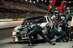 Dale Earnhardt, Jr.'s pit crew executing a pit stop
