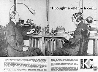 """KCBS (AM) - 1959 advertisement for KCBS promoting the station's 50th anniversary and claiming the title of """"the first radio broadcasting station in the world"""". Pictured are Charles D. Herrold and his assistant Ray Newby, circa 1910."""