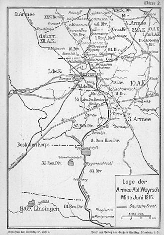 Baranovichi Offensive - Image: Karte Branowitschi 1916