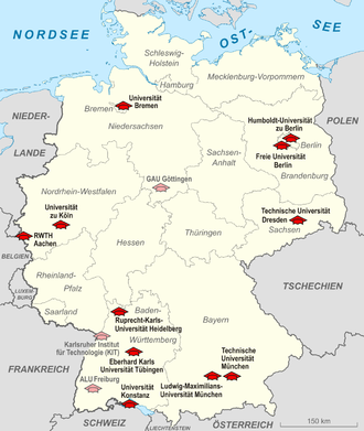 """German Universities Excellence Initiative - Map showing Germany's eleven elite """"Universities of Excellence"""", in 2012"""