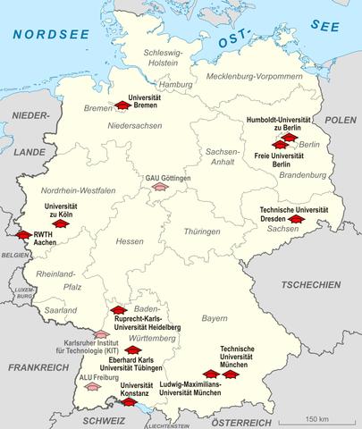 Karte elite universit ten deutschland for Universitaten deutschland