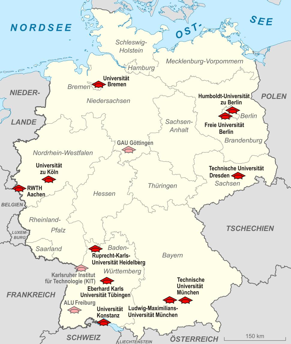 Karte Elite Universit%C3%A4ten Deutschland 2012