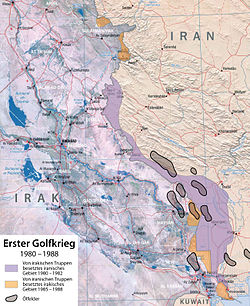 Karte Frontverläufe im ersten Golfkrieg