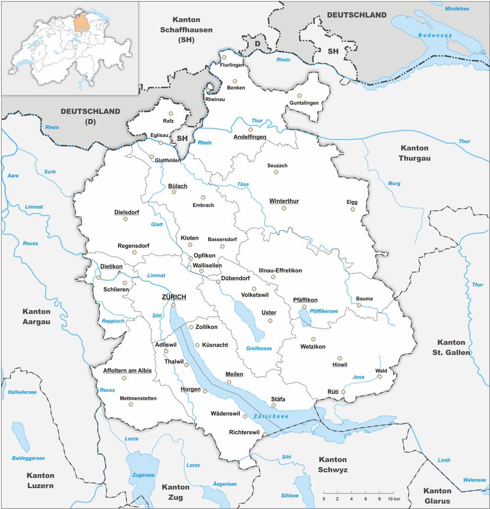 Karte Kanton Zürich 2010