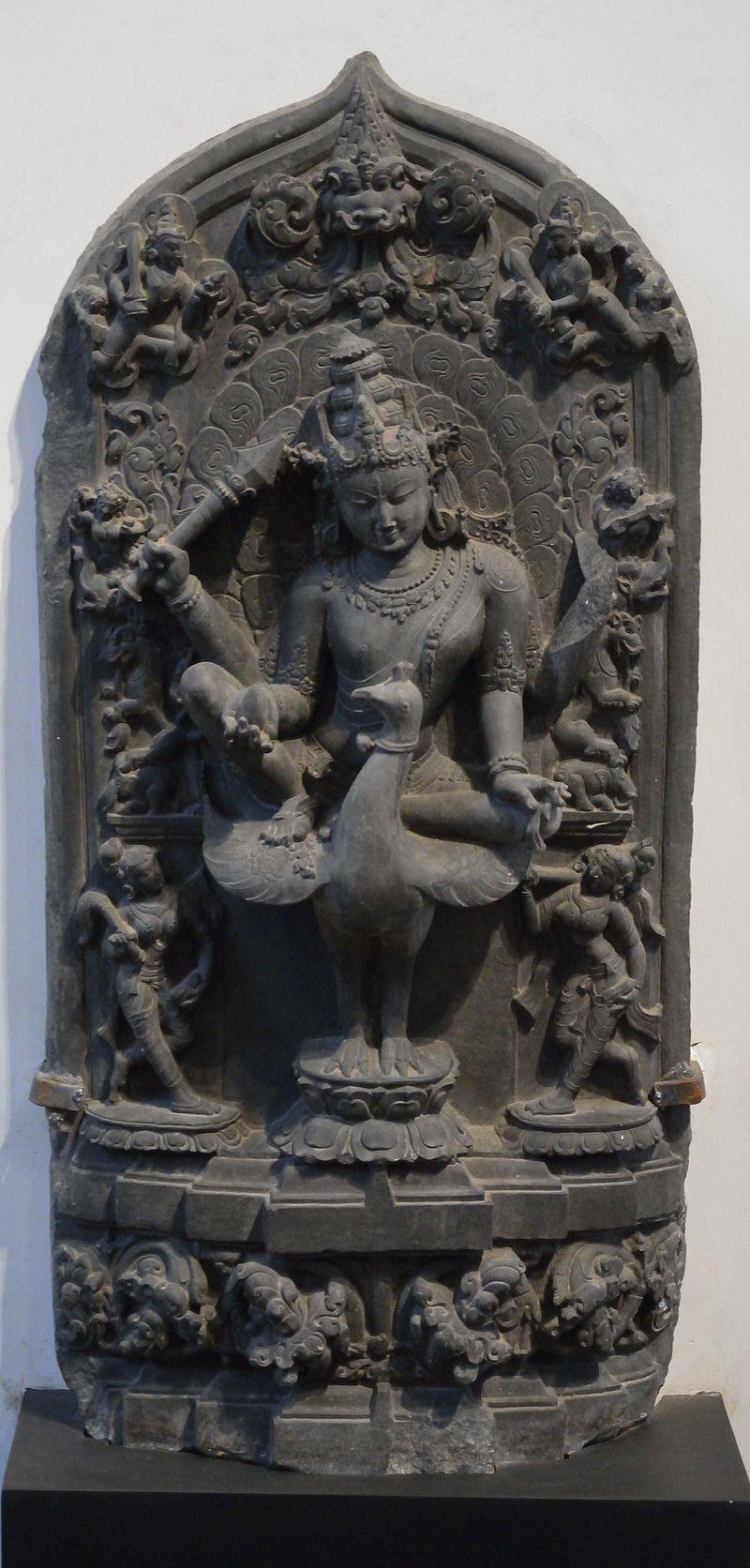Kartikeya - Chlorite - Circa 12th Century CE - North Bengal - ACCN 9206-A25204 - Indian Museum - Kolkata 2014-02-14 9296.JPG