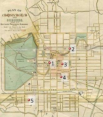 Kate Sheppard - Notable Sheppard locations: 1) Kate Sheppard National Memorial 2) Madras St residence 3) Trinity Church 4) Tuam St Hall 5) Addington Cemetery