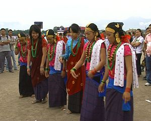 Magarat - Magar girls clad in traditional attire perform Kauda,the traditionaln Magar dance.