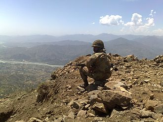 Pakistan Army - A Pakistan Army soldier keeping watch at Baine Baba Ziarat in Swat