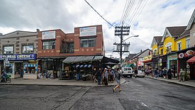 Kensington Market at street level from Baldwin Street and Kensington Avenue