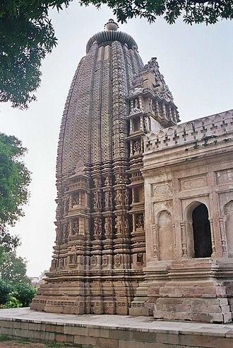 Shikhara - Latina shikhara of Adinatha temple, Khajuraho.