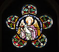 Kildare White Abbey North Transept Rose Window Angel Holding Sacred Heart 2013 09 04.jpg