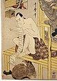 Kitagawa utamaro, serie del magazzino dei venditori leali, VII atto, 1801-02 ca. 04 uomo che legge rotolo e cane.jpg