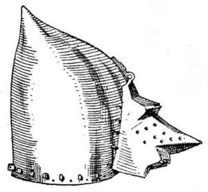 Visor (armor) - Image: Klappvisier Hundsgugel by Wendelin Boeheim
