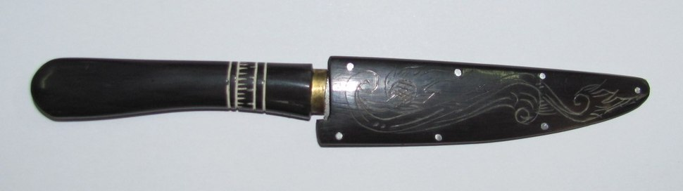 Knife handle made of buffalo horn
