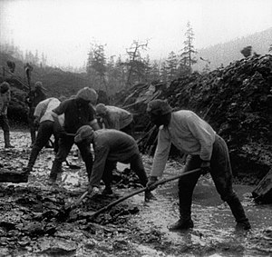 Gulag - Road construction by inmates of the Dalstroy (part of the 'Road of Bones' from Magadan to Yakutsk).