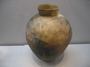 Mumun pottery period - Large Middle Mumun (c. 8th century BC storage vessel unearthed from a pit-house in or near Daepyeong, H= c. 60-70 cm.