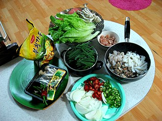 Pajeon - Image: Korean pancake Ingredients for Haemul pajeon