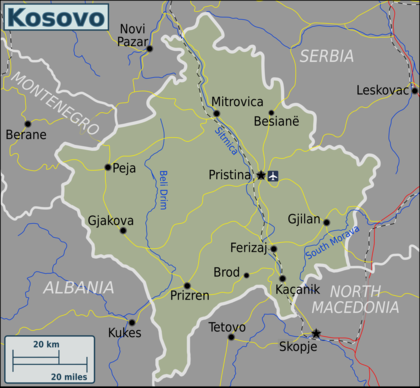 Kosovo Map In World. Map of Kosovo  Travel guide at Wikivoyage