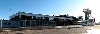 Kristiansand Airport, Kjevik - The terminal and control towers in 2013