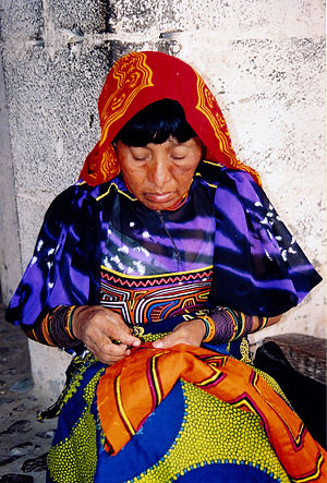 Kuna woman sewing in Panama.