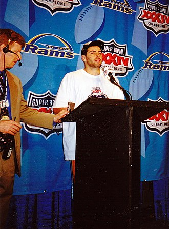 Kurt Warner - Warner at post-game press conference for Super Bowl XXXIV