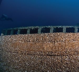 Kyle Spangler (schooner) Shipwreck Site - Image: Kyle Spangler nameboard damaged Thunder Bay NMS Michigan