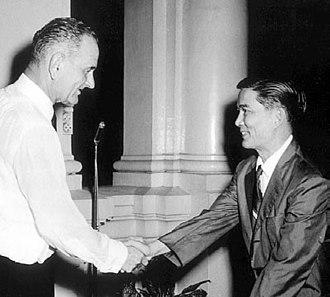 Nguyễn Văn Nhung - Ngô Đình Nhu (pictured) shaking hands with United States Vice President Lyndon B. Johnson.