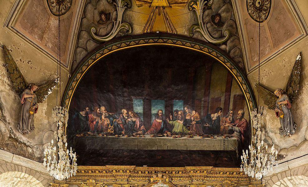 La Cène par Guillaume Fouace, au plafond de de l'église Notre-Dame de Montfarville (France).