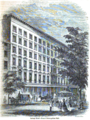 Lafarge House (hotel) including Broadway entrance to Metropolitan Hall, New York City, both destroyed by fire in 1854.tiff