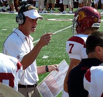 Lane Kiffin - Kiffin talking to Trojans quarterback Matt Barkley
