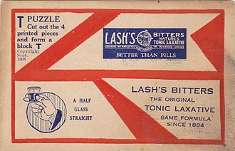 T puzzle - Lash's bitters T-puzzle, the earliest known version of the puzzle