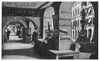 Kramgasse - The Lauben on the Kramgasse and the Zähringerbrunnen. Postcard from around 1900.