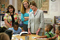 Laura Bush meets and speaks with members of the Gorenflo Elementary School first grade class, August 28, 2006.jpg