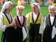 Bulgarian women in traditional folk attire